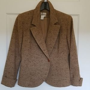Wide lapelled one button wool tweed jacket